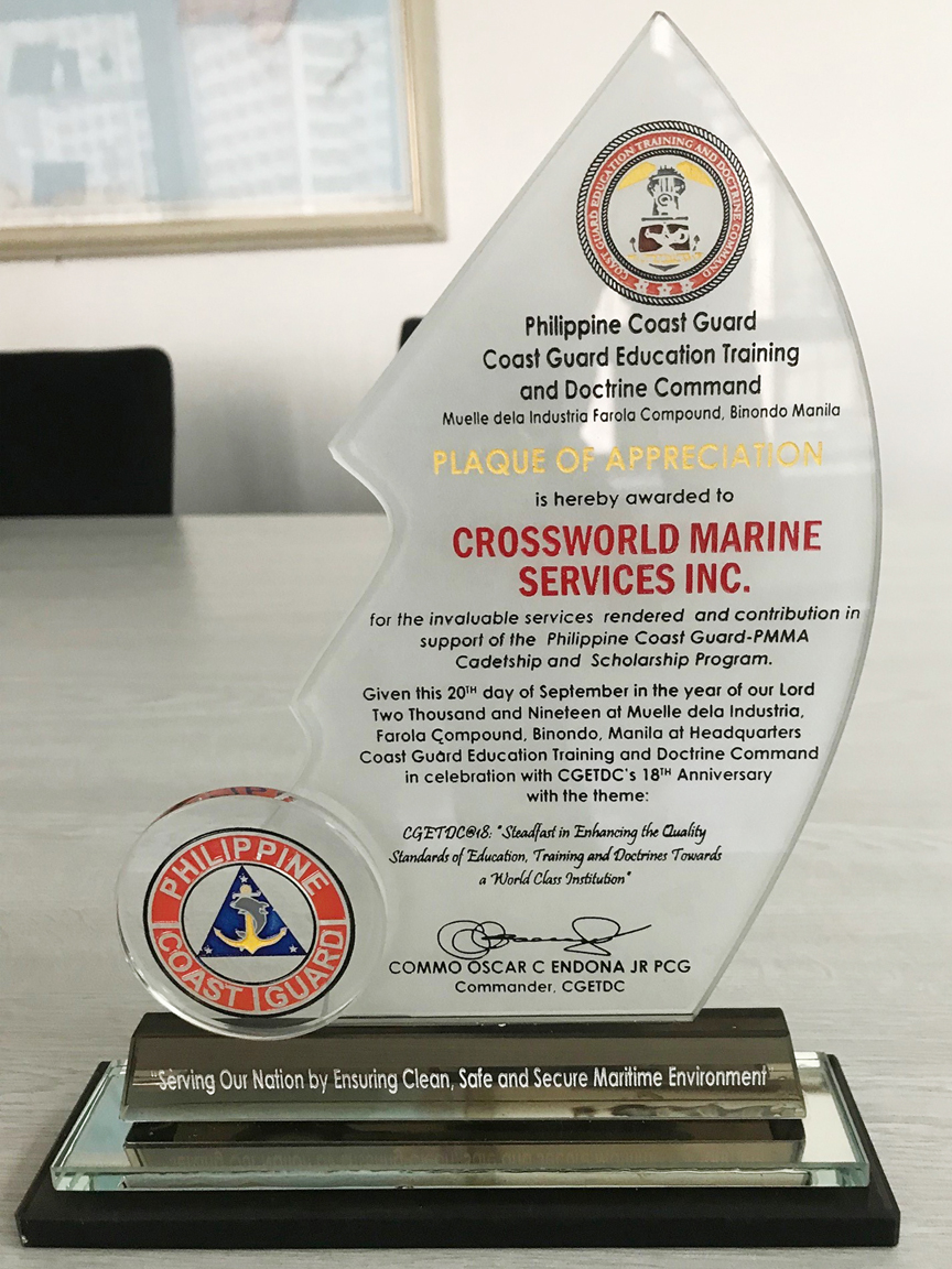 PCG Plaque of Appreciation to Crossworld